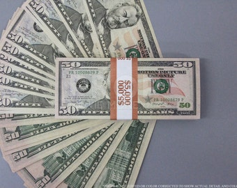 Prop Money New Style 50 Dollars Full Print Stack for Movie, TV, Video, Novelty and Photography