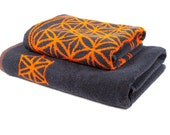 FREE SHIPPING Gifts for Dad Christmas Present Birthday Gift for Him Bath Towel Set in Grey and Orange with Flower of Life