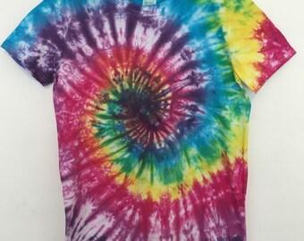 Bright Rainbow Multicoloured Swirl Tie Dye T-shirt Unisex