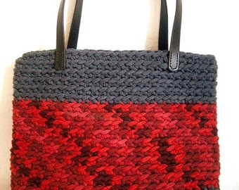 Crochet Bag Kit, Super Chunky Rico Creative Loopy yarn wool