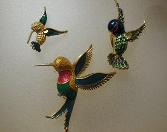 Set of Three Bird Brooches