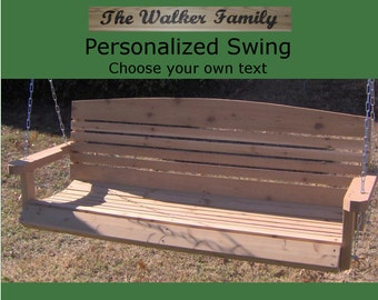 New Personalized 4 Foot Cedar Wood American Porch Swing - Choice of Name/Phrase Woodburned On Swing - Hanging Rope - Free Shipping