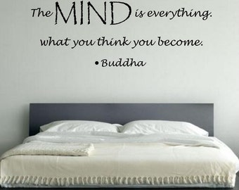 The Mind is Everything Buddha Quote Vinyl Wall Decal Sticker Art Decor Bedroom Design Mural peace art
