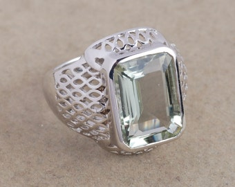 Green amethyst 925 sterling silver ring jewelry - Solitaire ring - Prasiolite ring - Bezel set ring - Green ring - amethyst silver ring gift