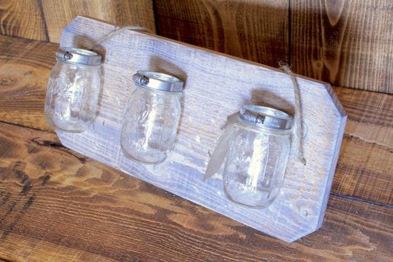 White Washed Handmade Triple Mason Jar Hanger (Wall Art/Vase) --- Flintface Woodshop