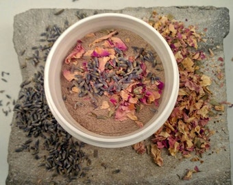 Lavender and Rose Rhassoul Clay Mask - combination skin - oily skin - spa - clay mask - dried  lavender - dried rose - acne relief
