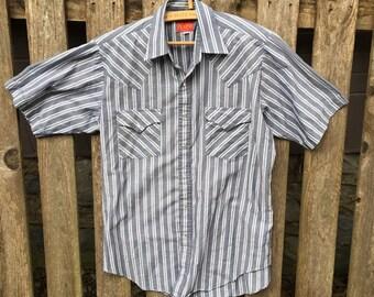 Vintage Western Pearl Snap Shirt Plains Size Medium Short Sleeve