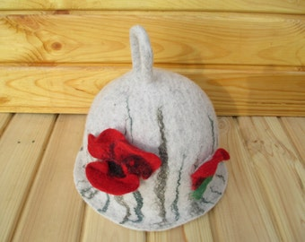 Poppy felted sauna hat Felt art flower unusual hat Boho white costume hat Cosy hat Capelli sauna Gift for her Sauna lover hat Wool hat