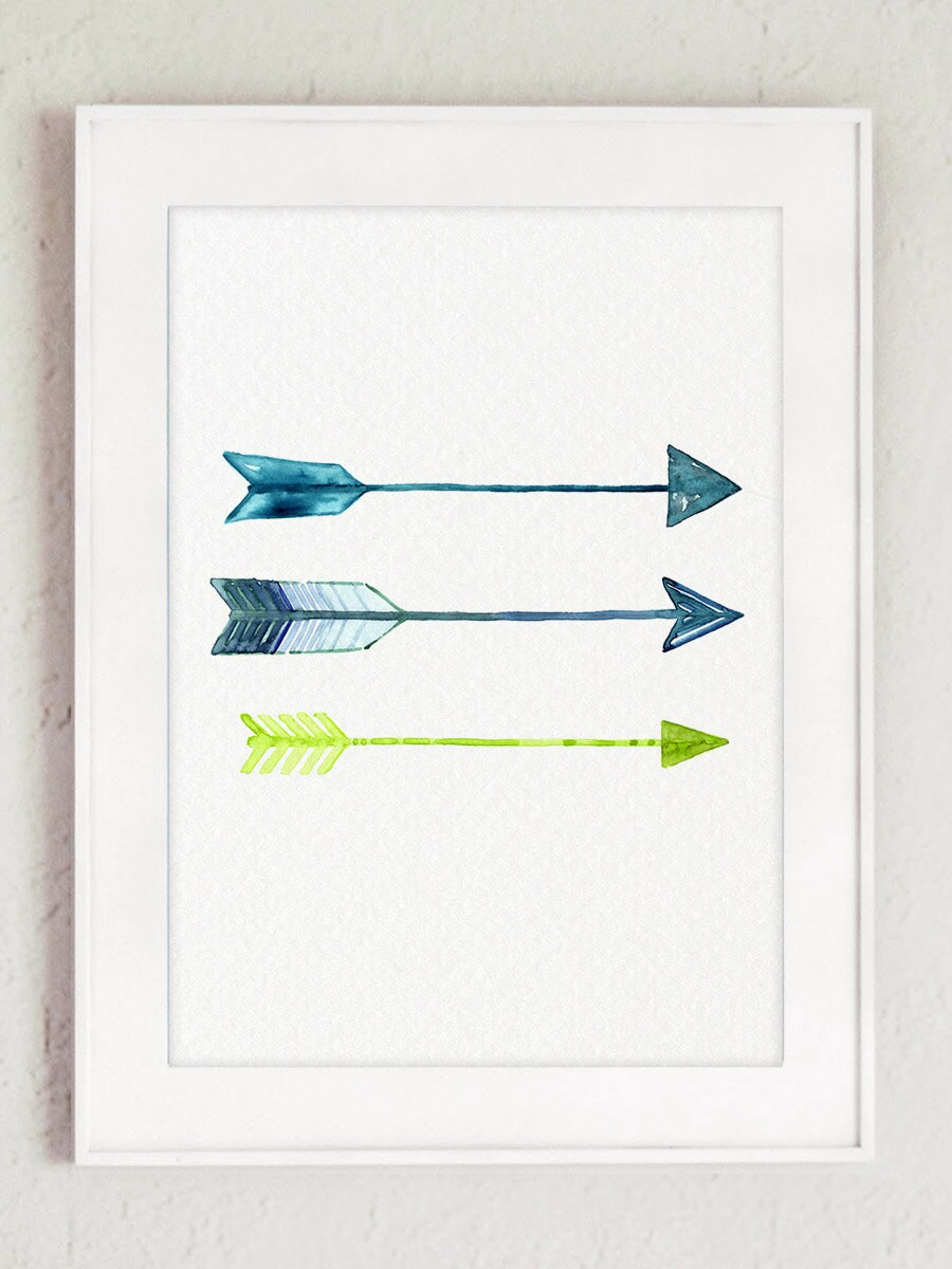 Arrows home decor blue lime green watercolor painting arrow for Lime green home decorations