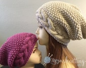 Cable Knit Chunky Beanie, Oversize Winter Hat, Boys Slouchy Beanie, Hipster Beanie, Gift Knit Hat, Kids Slouchy Beanie, Oversize Slouchy Hat