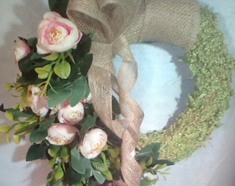 Peachy peony dream,decorative wreath with faux flowers