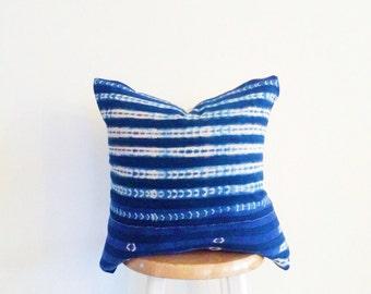 Authentic African Indigo Shibori Textile Pillow Cover