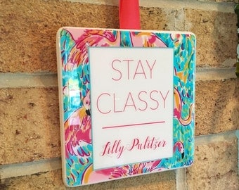 Lilly Pulitzer Decor Lilly Pulitzer Home Ready To Ship Cute Signs  Personalized Sign Custom Ceramic Sign
