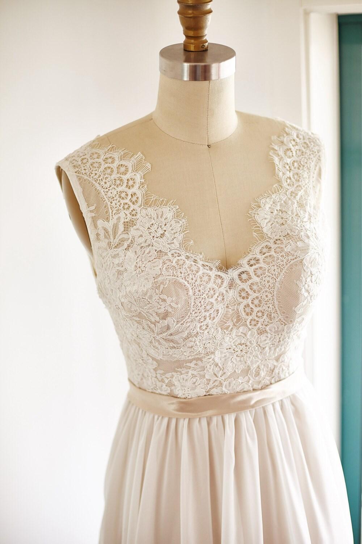 Lace chiffon wedding dress backless open back v back by for Backless chiffon wedding dress