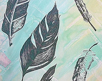 Watercolor and Ink Floating Feathers Fine Art Print