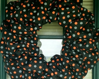 Polka-Dotted Fall/Halloween Wreath