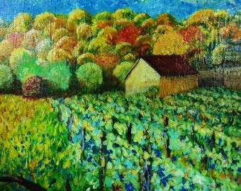 Fall Sunday Vineyard....mixed media painting on canvas