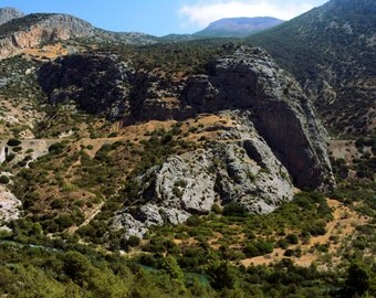Beautiful landscape view in Spain, rock moutains, nature photography print. Wall Art Decor