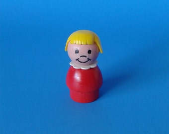 """Fisher Price Little People """" Blond Bangs Girl WOOD EX """" 1970's"""