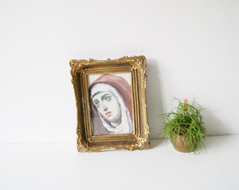 Holy icons, antique plaster frame frame, Maria Bild