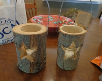 Set of Two Black Forest Log Lantern with Star from Europe2You