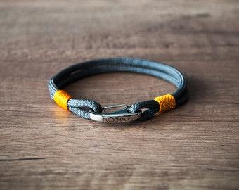 Men's and women's Sailor bracelet, men's jewelry, Nautica bracelet charcoal Grey-goldenrod, Christmas gift, bracelet for her and him