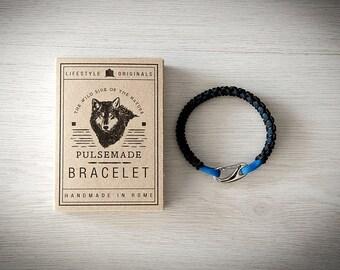 Men's Crab bracelet, men's jewellery, urban black-royal blue bracelet, Valentine's Day gift, bracelet for her and him
