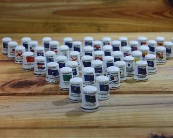 Thimble Set 50 Pieces Porcelain Thimble Set of Unites States 50 States FREE SHIPPING in the USA