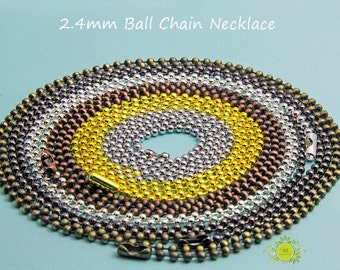 Ball Chain Necklaces-Pendant necklace-24 inch Ball Chain -11 Color Choices-Connectors Included 10pcs/lot