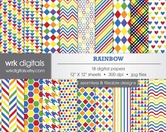 Rainbow Digital Paper Pack, Seamless Pattern, Digital Scrapbooking, Instant Download