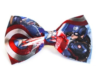 Captain America Bow Tie | Marvel Bow Tie | For Him | Bowtie | Dog Bow Tie | Mens Bow Tie | Boys Bow Tie | Superhero | Wedding Bow Men