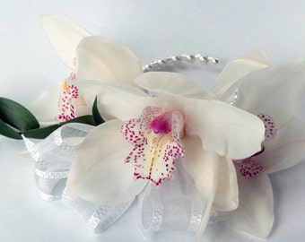white orchid bracelet, handmade flowers, bangle bracelet, orchid jewelry, delicate flower bracelet