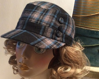 50% Off Sale Vintage D&Y Plaid Wool Newsboy Hunting/Driving Cap Hat