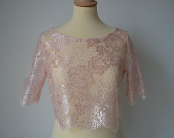 Top Bridal blouse pink lace