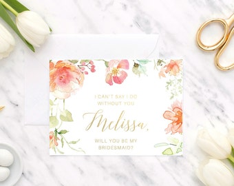 Bridesmaid Proposal | Maid of Honor Proposal | Foil | Will you be my bridesmaid | Will you be my maid of honor | Will you be | Wedding Card