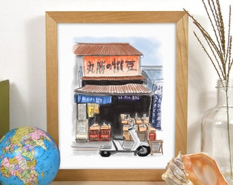 Travel Art Print: Local Market in Tsukiji, Japan