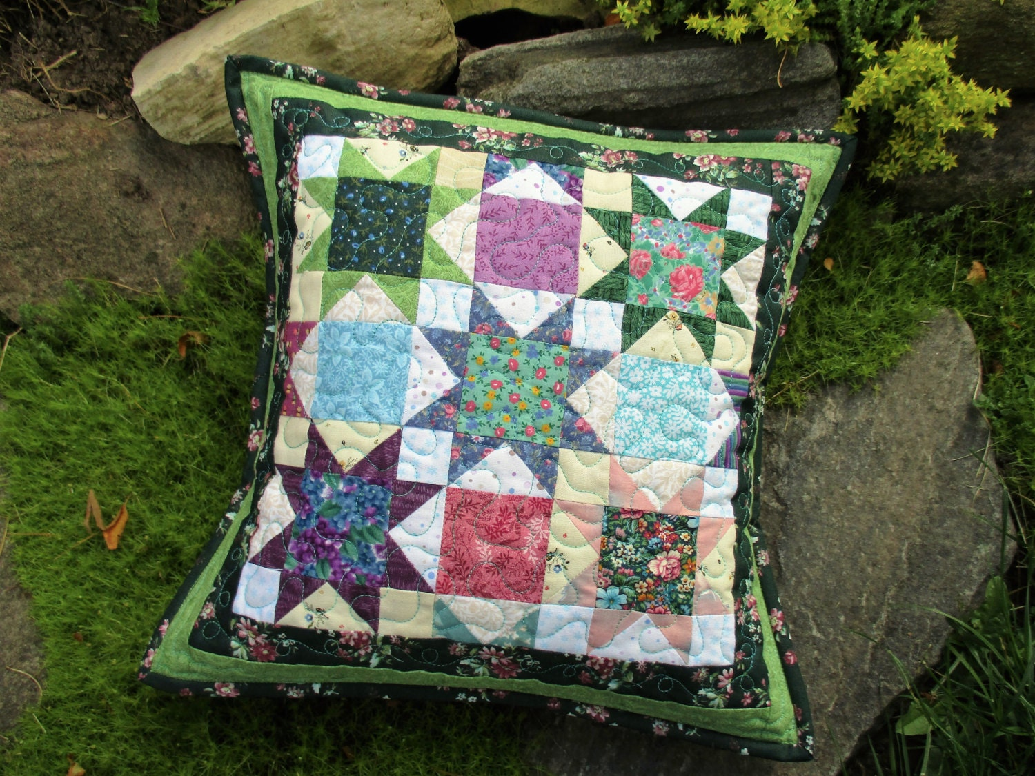 Green Quilted Throw Pillow Floral Patchwork Pillow Cover