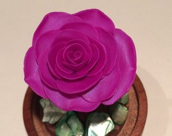 Sparkling Purple Rose in a glass dome, Beauty and the Beast Rose, Rose in a dome, Rose in Glass, Enchanted rose, Shimmering Purple Rose
