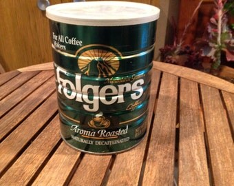 Vintage Folgers 1 Pound 10 oz (26oz) Aroma Roasted Decaf Coffee Can, Tin