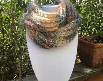 Women's long grey and peach, pink,  hand knitted scarf.