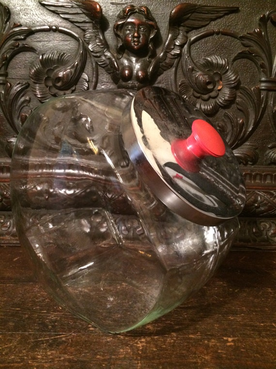 Vintage Glass Cookie Candy Jar Extra Large With Metal Lid And
