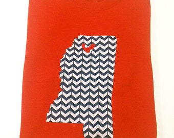 Short Sleeve Ole Miss Appliqué T Shirt, Hotty Toddy, UM, Game Day Shirt, Heart