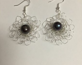 Silver Crochet Wire Eartings With Black 10MM Fresh Water Pearls