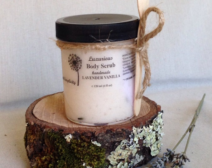 Body Scrub, Lavender Vanilla, with Lavender Buds