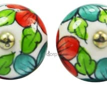 A Set of 2 Pieces Red,Green Leaf Style On White Decorative Ceramic Cupboard Cabinet Door Knobs & draware Pulls