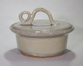 Small Khaki Colored Lidded Casserole with Funky Handle