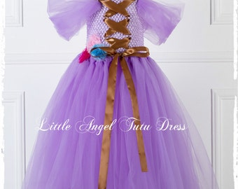 Disney Inspired Tangled Rapunzel Purple Tutu Dress, Handmade fancy dress costume, Purple Tulle Dress, Birthday Dress with Fully Lined Top