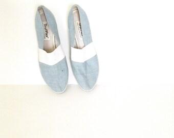 80's blue denim canvas shoes. Vintage slip ons