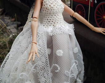 MH and Azone cream tulle DRESS - with crocheted top OOAK