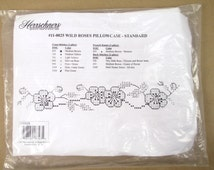 Herrschners Stamped Pillowcase - Wild Roses 11-0025 - Cross Stitch Standard Pillow Case Floral Embroidery